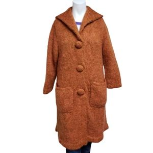 Hand crafted long orange wool knit jacket